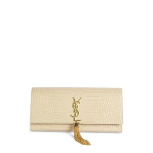 SAINT LAURENT Kate Monogram Croc-Embossed Leather Tassel Clutch