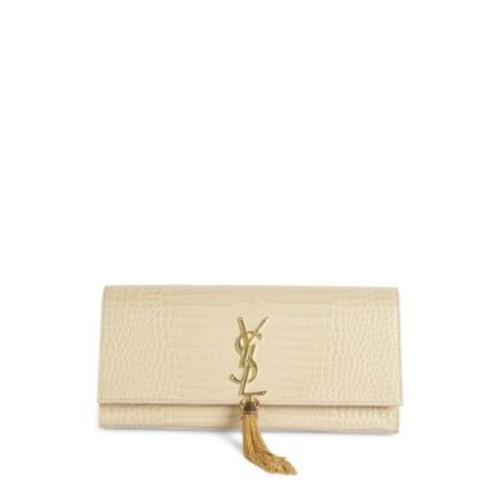 SAINT LAURENT Kate Monogram Croc-Embossed Leather Tassel Clutch