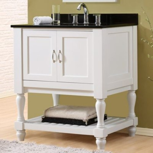 Direct Vanity Sink Mission Turnleg Spa 32'' Single Bathroom Vanity Set; Black Granite