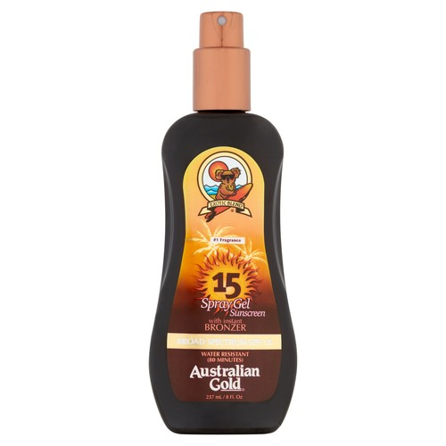 Australian Gold SPF 15 Spray Gel Sunscreen with Instant Bronzer, 8 Fl Oz [SPF 15, Bronzer Spray Gel]