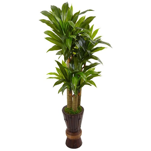Nearly Natural Indoor Cornstalk Dracaena Plant in Wooden Planter
