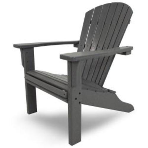 POLYWOOD Seashell Slate Grey Plastic Patio Adirondack Chair