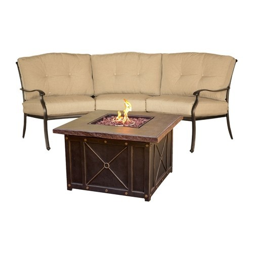 Hanover - Traditions 2-Piece Chat Set with Durastone Fire Pit - Durastone/Tan