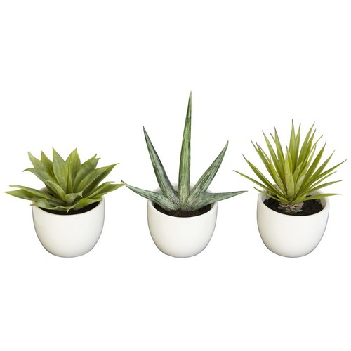 Nearly Natural Southwest Collection Agave Plant Green Set of 3 4769