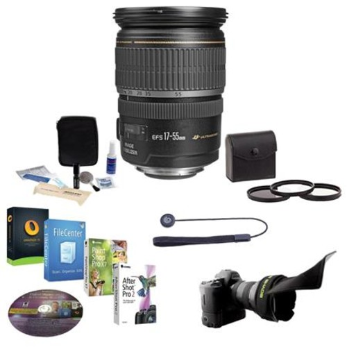 Canon EF-S 17-55mm f/2.8 IS USM Lens with Free Accessory Bundle 1242B002 NK