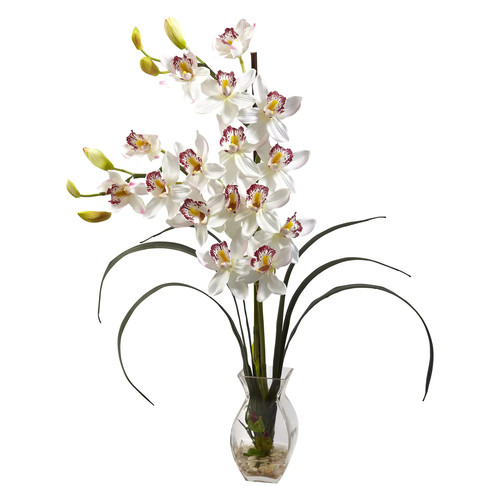 Nearly Natural Cymbidium Orchid with Vase Arrangement, White