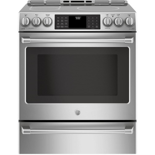 GE Cafe 30 in. Slide-In Induction and Convection Range with Warming Drawer in Stainless Steel