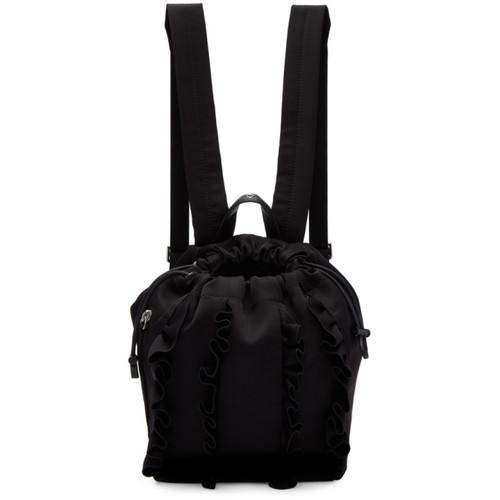 Black Satin Mini Go-Go Ruffles Backpack