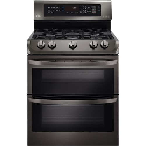 LG Black Stainless Steel Series 6.9 cu. ft. Gas Double Oven Range with ProBake Convection, EasyClean