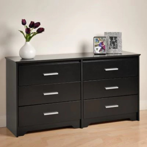 Prepac Coal Harbor 6-Drawer Black Dresser