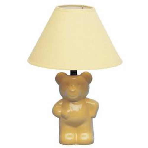 ORE International 13 in. Ceramic Teddy Bear Yellow Lamp