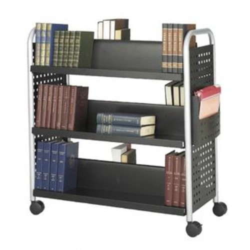 Safco Scoot Double Sided 6 Shelf Book Cart in Black Finish