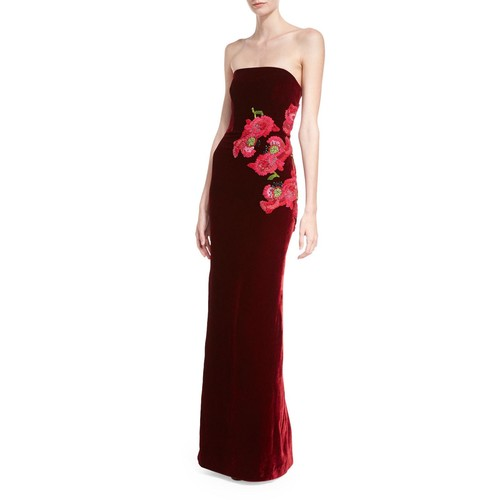 MONIQUE LHUILLIER Floral-Embroidered Strapless Velvet Gown