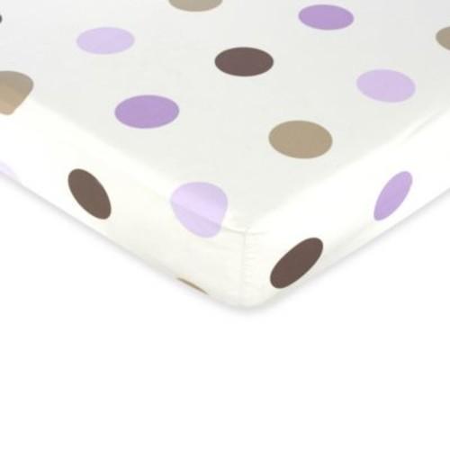 Sweet Jojo Designs Mod Dots Crib Sheet With Large Dot Print in Purple/Chocolate