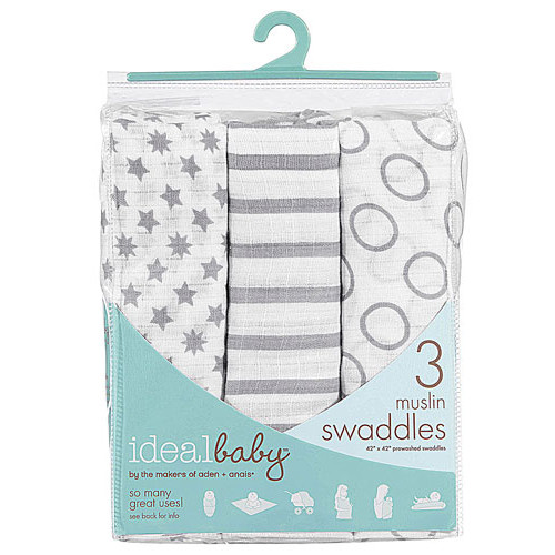 Ideal Baby By The Makers of Aden + Anais Muslin Swaddles Pint Size -- 3 Pack