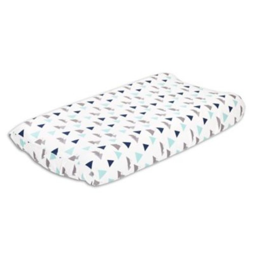 The Peanut Shell Woodland Trails Changing Pad Cover in Blue/Green