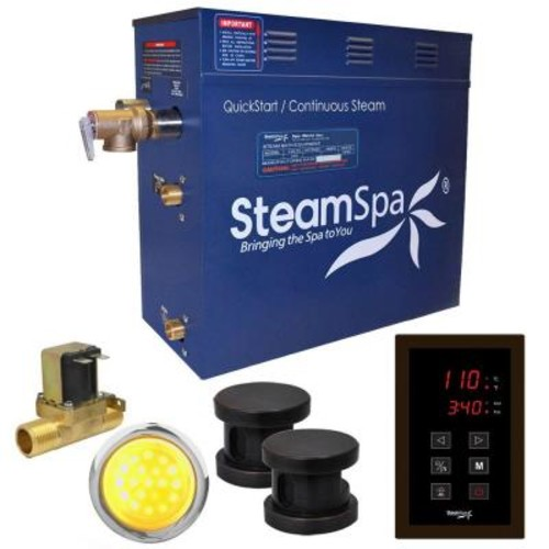 SteamSpa Indulgence 12kW QuickStart Steam Bath Generator Package with Built-In Auto Drain in Polished Oil Rubbed Bronze