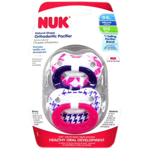 NUK Orthodontic Pacifier, 0-6 Months, 1 ea (Pack of 2)