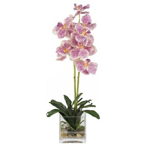 Vanda with Glass Vase Silk Flower Arrangement