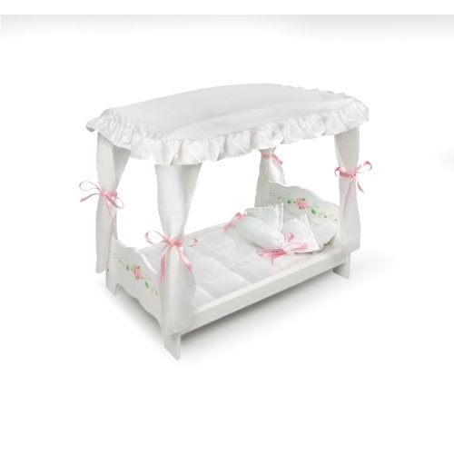 BadgerBasketCompany White Rose Doll Canopy Bed