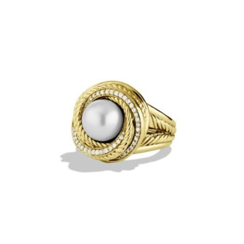 Pearl Crossover Ring with Diamonds in G