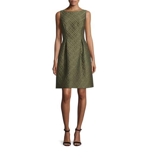 LELA ROSE Betsy Check-Matelasse Full-Skirt Dress, Olive
