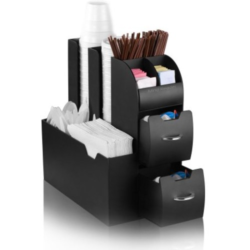 Mind Reader Coffee Condiment and Accessories Caddy Organizer, Black [Black]