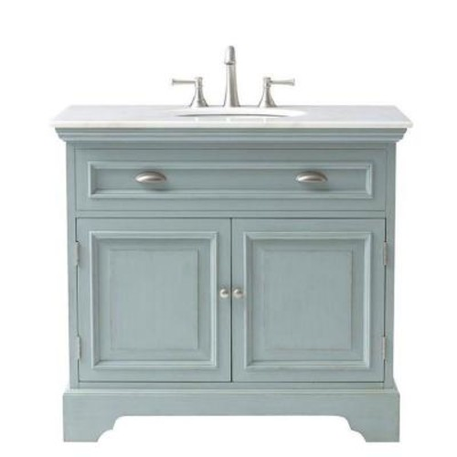 Home Decorators Collection Sadie 38 in. W Bath Vanity in Antique Light Cyan with Natural Marble Vanity Top in White