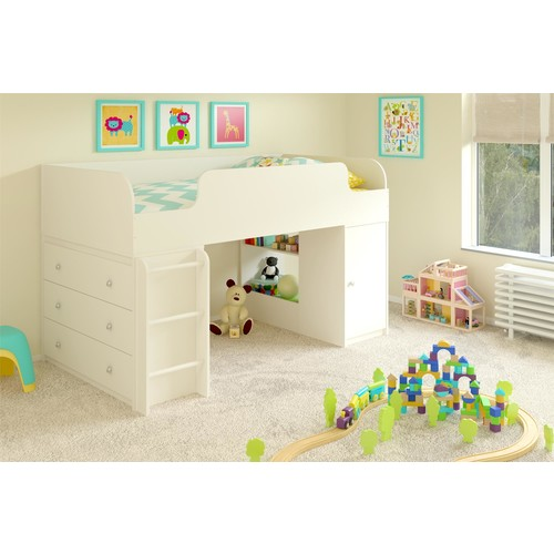Dorel Elements White Stipple Loft Bed with 3-Drawer Dresser and Toy Box Bookcase