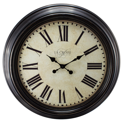La Crosse Clock 404-2658 23 Inch Round Brown Antique Dial Analog Wall Clock with Roman Numerals