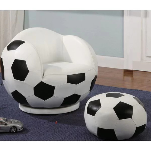 Kids Soccer Ball Design Chair and Ottoman