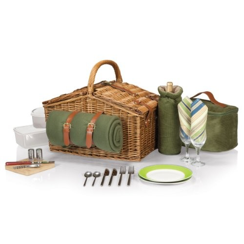 Picnic Time Somerset English-Style Double Lid Willow Picnic Basket with Service for 2, Sage Green with Stripes [Sage Green with Stripes]