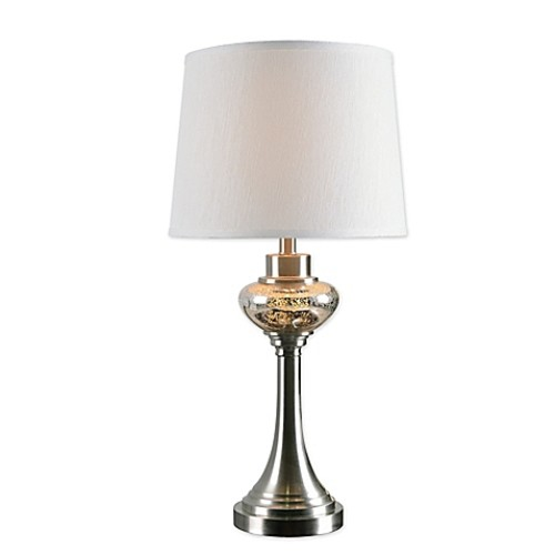 Kenroy Home Trumpet 2-Light Table Lamp in Brushed Steel with Fabric Shade