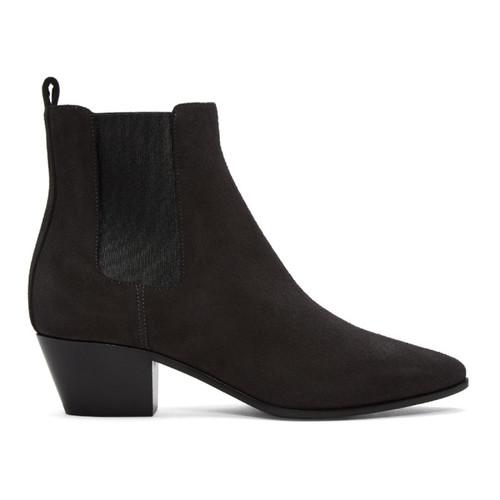 SAINT LAURENT Grey Suede Rock Chelsea Boots