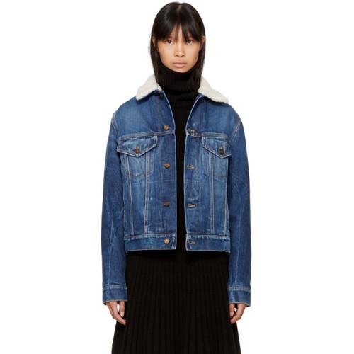 SAINT LAURENT Blue Denim Shearling Patch Jacket