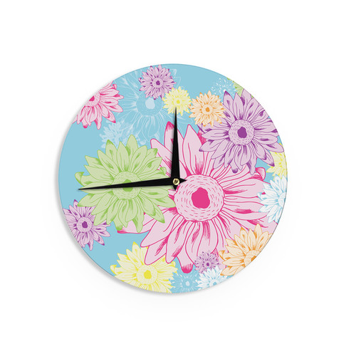 KESS InHouse Robin Dickinson 'Just Dandy' Blue White Wall Clock