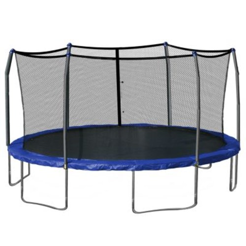 Skywalker Trampolines Blue 17 x 15 ft Oval Trampoline and Enclosure with Windstakes Included