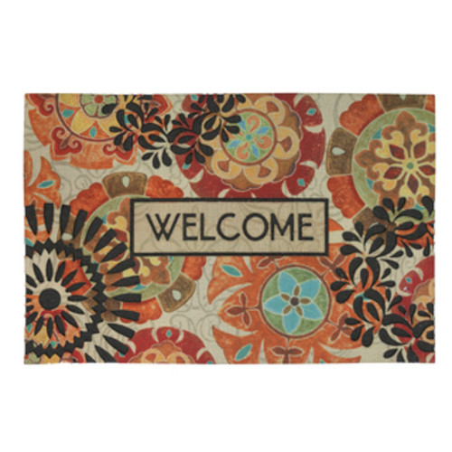 HomeTrax Designs Welcome River Rocks Coir Mat (18-inch x 30-inch) - Welcome River Rocks