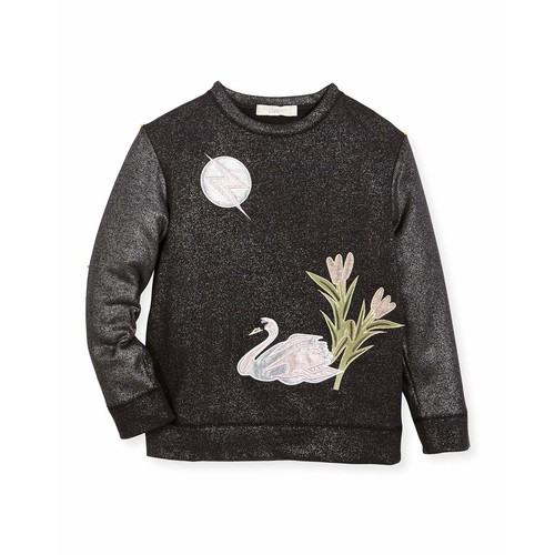STELLA MCCARTNEY Valeria Metallic Swan Sweater, Size 4-14