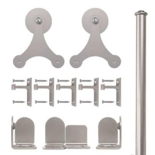 Quiet Glide Tri-Star Barn Door Hardware Kit; Satin Nickel