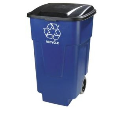 Carlisle 50 Gal. Blue Roll Cart Recycle Container (2-Pack)