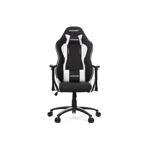 AKRacing Nitro Racing Style Gaming Chair with High Backrest, Recliner, Swivel, Tilt, Rocker and Seat Height Adjustment Mechanisms. White PU Leather