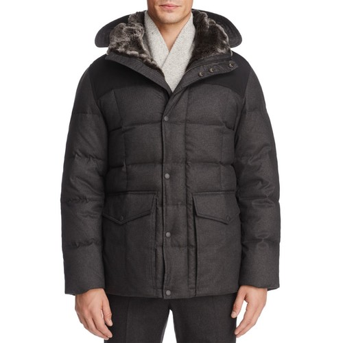 Flannel Down Hooded Jacket