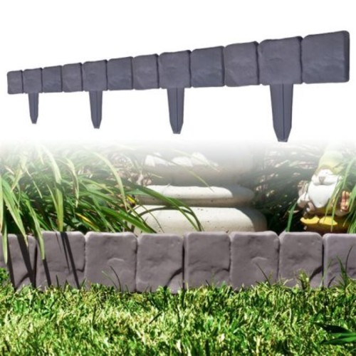 Garden Edging Border- Decorative Flower Bed Edging for Landscaping- Stone Trim, 10 Piece Set of Interlocking Outdoor Lawn Stakes by Pure Garden (8)