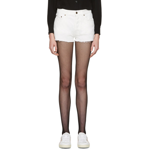 SAINT LAURENT White Denim Boyfriend Shorts
