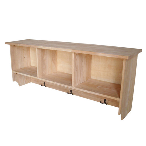 International Concepts Unfinished Wall Shelf Unit with Storage