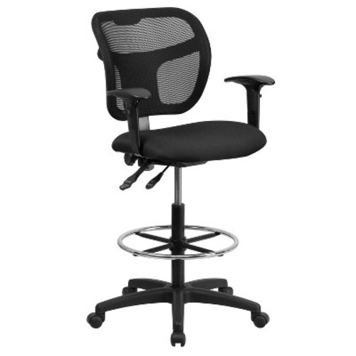 Mid-Back Mesh Drafting Chair with Black Fabric Seat and Height Adjustable Arms - Flash Furniture