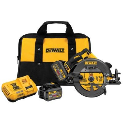 DEWALT FLEXVOLT 60-Volt MAX Lithium-Ion Cordless Brushless 7-1/4 in. Circular Saw with (2) Batteries 6Ah, Charger and Case