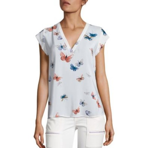 JOIE Rubina Butterfly Printed Silk Blouse