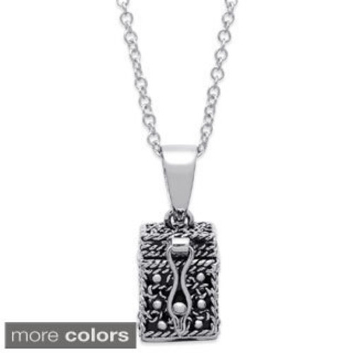 Prayer Box Metal Charm 1/PkgAntique Silver Fleur De Lis